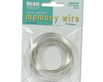 "Beadsmith Silver Plated Memory Wire 1 3/4"" Diameter, 1 Ounce"