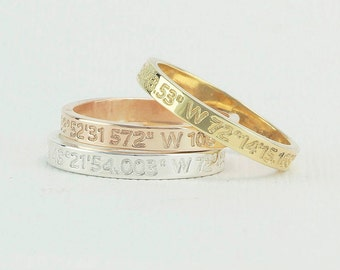 Latitude Longitude Ring, Coordinate Ring, Longitude Latitude, Personalized Ring, Personalized Jewelry,ring coordinates . FT 2