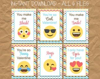 INSTANT DOWNLOAD - Emoji Kid's Valentine's Day Cards
