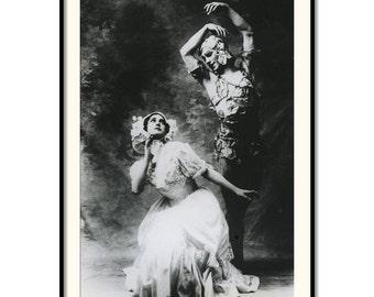 "Vintage Art Photography with Vaslav Nijinsky and Tamara Karsavina 8""x12"""