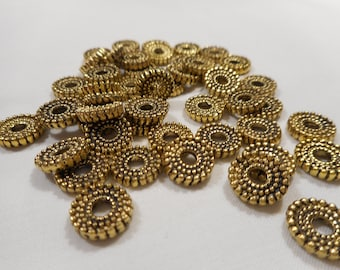 Antique Golden Spacer Beads Tibetan Style 10x2mm 50 pcs. Jewelry Making Findings