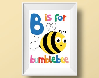 """Colourful Retro Nursery Giclee Print - Slogan 'B is for bumblebee' - A4 or 8x10"""" size - Alphabet Letters Cartoon Poster for Kids Room"""