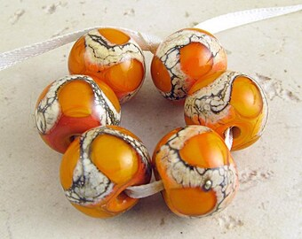Orange Glass Bead Set of 6 Handmade Lampwork 14x11mm