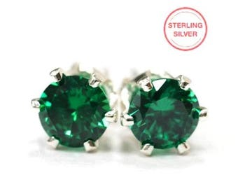 Sterling Silver Emerald Green CZ Earrings