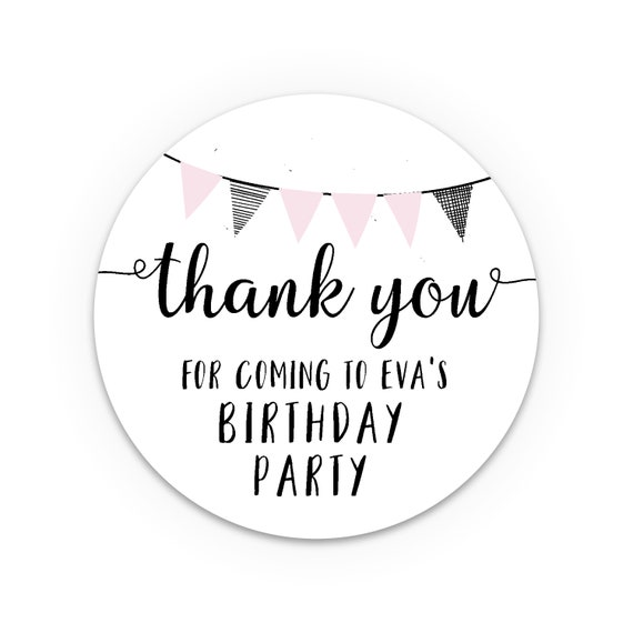Thank you stickers, Party stickers, Stickers for party boxes, Thank you kids, Custom thank you stickers, Stickers made to order