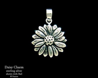 Daisy Flower Charm / Necklace Sterling Silver
