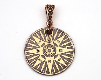Copper compass pendant, small round flat etched jewelry, gift for him, 25mm