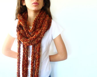 Multi strand infinity scarf.  Multi coloured knitted scarf.  Chunky knit cowl. Womens gift. Unique handmade scarves