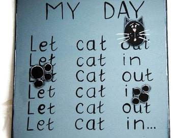Black cat painting - My day with my cat