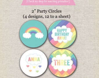 Rainbow Party Circles - pastel | Rainbow Cupcake Toppers - pastel | Rainbow Stickers | Pastel Rainbow Party Printables
