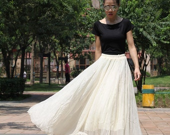 Cream/beige Long Chiffon skirt Maxi Skirt Silk chiffon dress Women Silk Skirt Beach Skirt plus size dress Pleated skirts