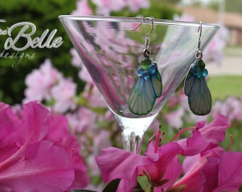 Blue / Green Dragonf Fly Wing Earrings with Rhinestone Accents - Silver Plated French Hooks