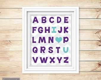 I Love Heart You Alphabet aqua grape Learning Tool Wall Art Nursery Girls bedroom Decor ABC's Printable 11x14 Digital JPG Instant Download