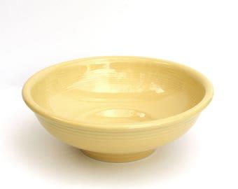 "Vintage Fiesta Yellow Pedestal Bowl (Newer), 9.75"" D., Date Stamped 1998, Homer Laughlin China Co Fiesta Yellow Serving Bowl, Yellow Fiesta"
