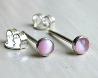 Pink Gemstone Stud Earrings, Cats Eye Post Earrings, Silver Post Earrings