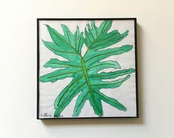 46/100: shop plant - original framed watercolor illustration