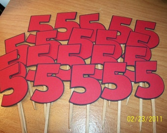 Number 5 cupcake toppers- set of 24