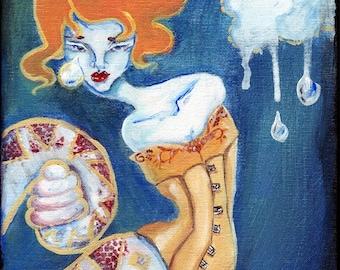 SALE! Lowbrow Art Little Tears - Snake Girl in a Corset ORIGINAL acrylic painting by Ela Steel surreal bizarre strange dark gothic depressed