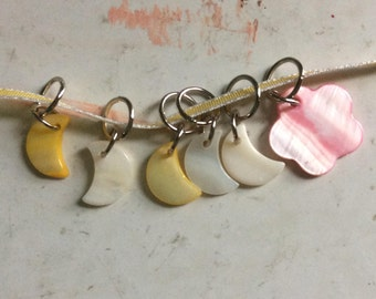 Flower & Moons Stitch Markers. Knitting Supplies