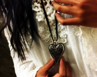 Valentines heart necklace, heart Choker, Large heart pendant, silver heart pendant, filigree necklace, Long brown suede Necklace- AFN 127br