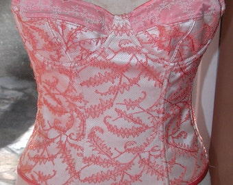No. 500 Tangerine Bustier With Silk Chantilly Lace & Matching Thong (SIZE 8-10?); C CUP