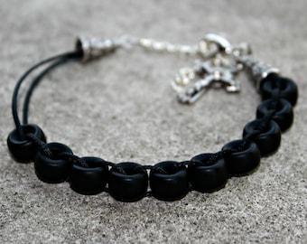 Flat black glass Catholic Christian Prayer Bracelet Movable Good Deed Beads