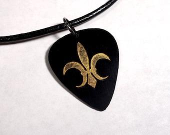 SALE - Engraved Fleur De Lis Plastic Guitar Pick Necklace or Pendant, black and gold