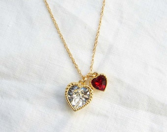 July Birthday. Swarovski Twin Heart Necklace. Crystal Clear and Ruby Red Heart Charm. . Simple Modern Jewelry