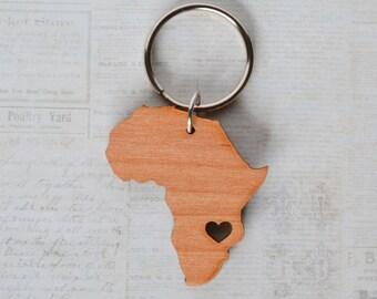 Malawi Africa Love Wood Key Ring