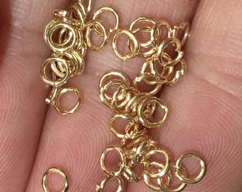 200 pcs of Gold plated jumprings 4mm, open jumprings, light gold jumprings