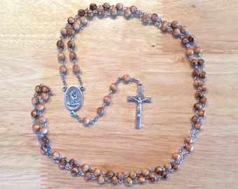 Franciscan Crown Handmade Catholic Chaplet (Rosary of the Seven Joys of Mary) with Bethlehem Olive Wood Beads