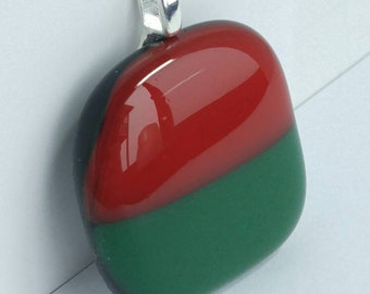 Red Green Fused Glass Pendant