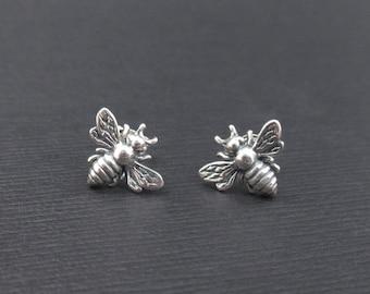 Honey Bee Earrings Sterling Silver Tiny Honeybee Bumble Bee Stud Earrings