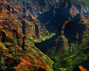 """Hawaiian Art, Kauai, Waimea Canyon, Landscape Photography, Kauai Print, Green, Blue, Hawaii Wall Decor, Kauai Mountains - """"Waimea Canyon"""""""