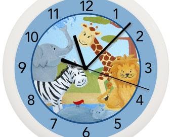 Safari Jungle Nursery Wall Clock Blue