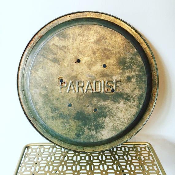 RARE Metal Tin Pie Plate PARADISE Bakeware - Vintage Mid-Century Bakeware