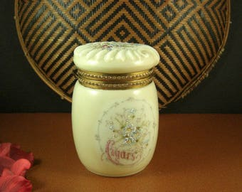 Wave Crest Cigar Humidor Tobacco Jar Helmschmied C F Monroe Co Handpainted Flowers