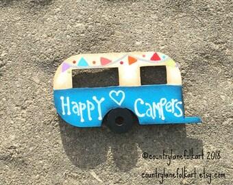 refrigerator magnets, camper magnet, happy campers, vintage camper, kitchen magnets,  painted wood camper, camper decor, blue camper