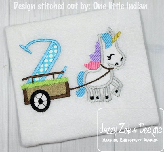 Unicorn with number 2 in cart appliqué embroidery design - Unicorn applique design - 2nd birthday applique design - second birthday applique