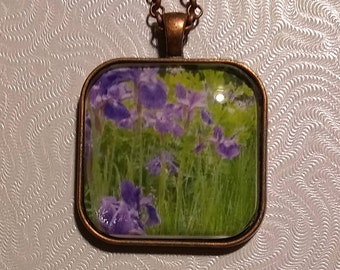 Floral Photo Pendant Necklace with Violets