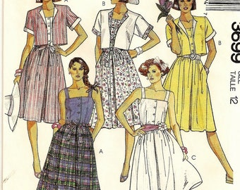"""A Buttoned Bodice w/Shoulder Straps, Full Skirt, Side Pocket Dress & Boxy Jacket Pattern for Women: Uncut - Size 12 Bust 34"""" • McCall's 3699"""