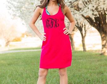 Monogram Swimsuit Cover Up   Large Monogram Dress   Racerback Tank Dress   Custom Sleep Shirt   Casual Dress   Gift for Her   Gifts under 30