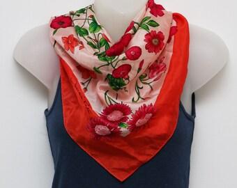 Vintage Oscar de la Renta scarf in coral and pink floral