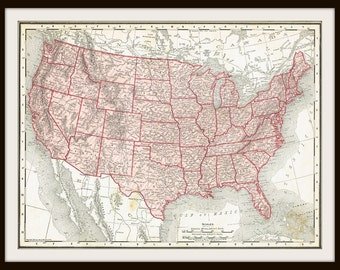 DIGITAL Download - 1911 UNITED States Map - US Map for Papercrafts, Transfers, Pillows, Scrapbooks, and more.