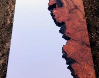 Natural-edged wooden mirror
