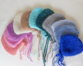 Newborn Mohair Bonnet ,Photo Props Mohair Baby Hat ,Newborn Knit Bonnets , Baby  Mohair Hat