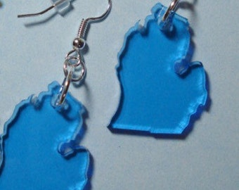 Blue Michigan Earrings - Light Blue Acrylic State Jewelry
