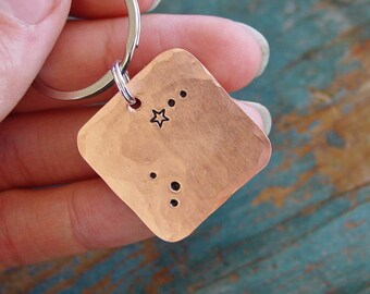 Aries Constellation Keychain, Zodiac Gift, Copper Keychain, Star Sign Keychain, Zodiac Gifts, March Birthday , April Birthday, Unisex Gift