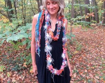 hand knit soft art yarn extra long loop gypsy scarf - gypsy rose party scarf