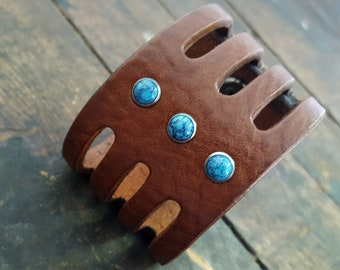 Trinity Men's Women's Native American Style Cuff Bracelet, Turquoise or Coral Leather Cuff, Wide Leather Cuff, Boho Tribal Festival Jewelry